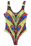 Iyasson Golden Feather Printing Backless One-piece Swimsuit