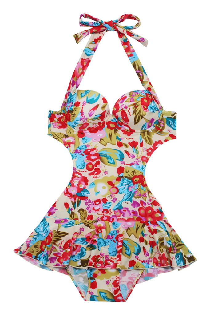 Iyasson Colorful Floral Printing Falbala One-piece Swimsuit