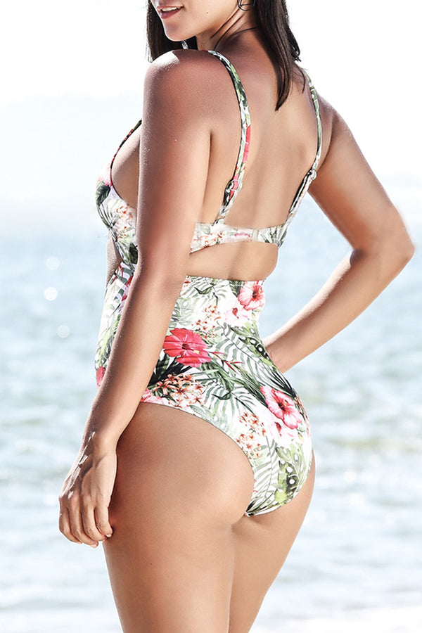 Iyasson Charming Floral Printing Front Hollow Design One-piece Swimsuit
