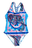 Iyasson Blue Animal print With Handmade Braided Ties One-piece swimsuit