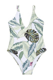 Iyasson Light Green Leaves Printing Deep V-neck One-piece Swimsuit