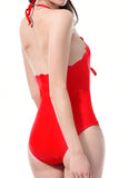 Iyasson Sexy Deep V-neck With Wave Hem One-piece Swimsuit