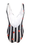 Iyasson Cute Stripe & Cherry Printing Deep V-neck One-piece Swimsuit