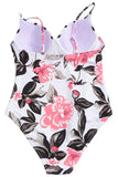 Iyasson Romantic Floral Print One-piece Swimsuit