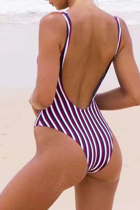 Iyasson Vintage Stripe Printing Low Back One-piece Swimsuit