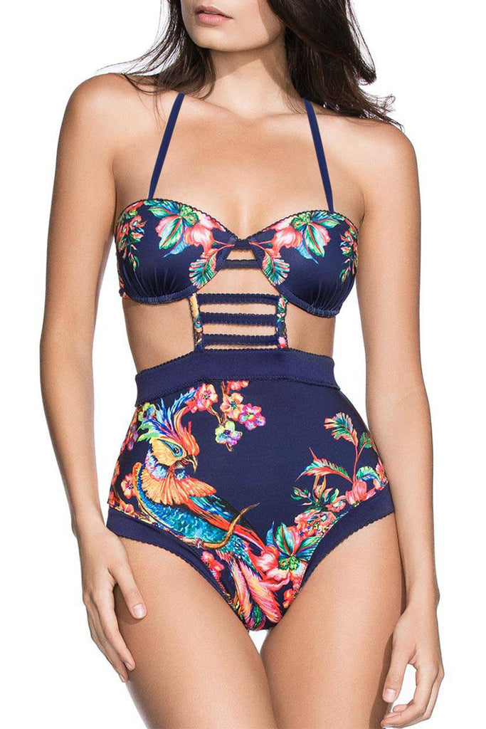 Iyasson Navy Blue Floral Print High-waisted One-piece Swimsuit