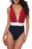 Iyasson Sexy Contrast Color Deep v-neck One-piece swimsuit