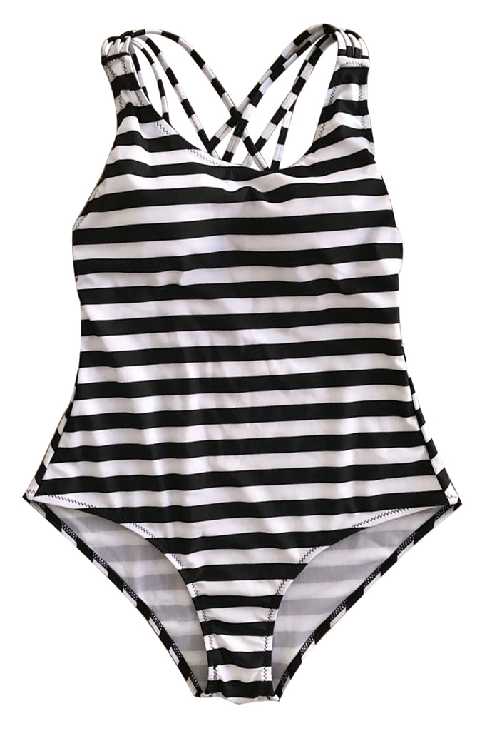 Iyasson Sexy Stripe Print Cross Design One-piece Swimsuit