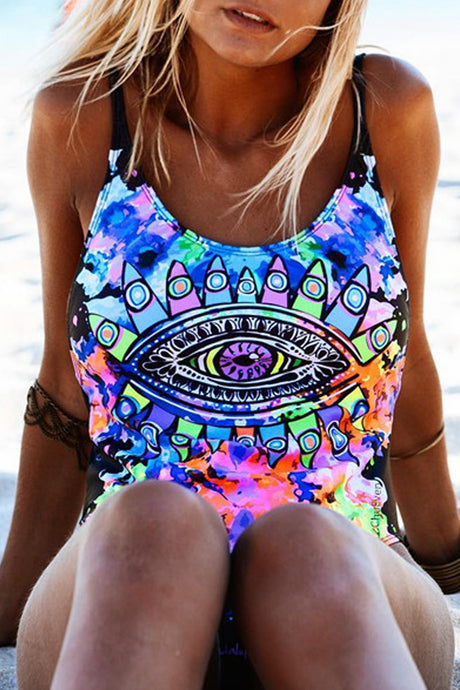 Iyasson Dazzling Doodle Print Backless One-piece Swimsuit