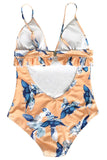 Iyasson Orange Floral Printing Falbala Design One-piece Swimsuit