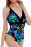 Iyasson Floral Print Deep V-neck One-piece Swimsuit