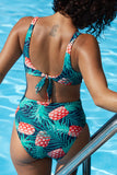 Iyasson Pineapple Printing Side Hollow Design One-piece Swimsuit