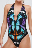 Iyasson Butterfly Printing Deep V-neckline Halter One-piece Swimsuit