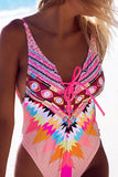 Iyasson Neon Pink Bohemia Print Deep V-neck One-Piece Swimsuit