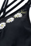 Iyasson White Daisy Embroidery With Deep V-neck One-piece Swimsuit