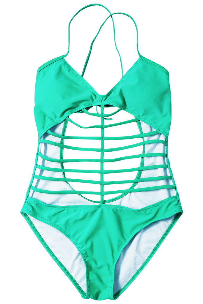 Iyasson Green Hollow Out Design With Strappy Detailing One-piece Swimsuit
