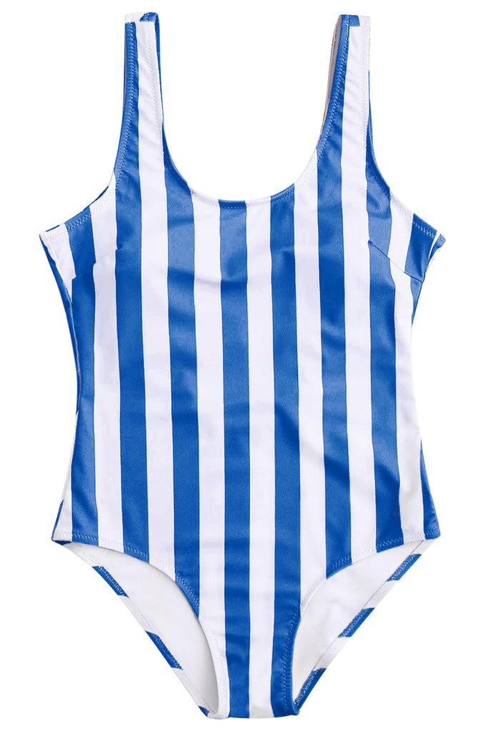 Iyasson Stripe Printing Backless One-piece swimsuit