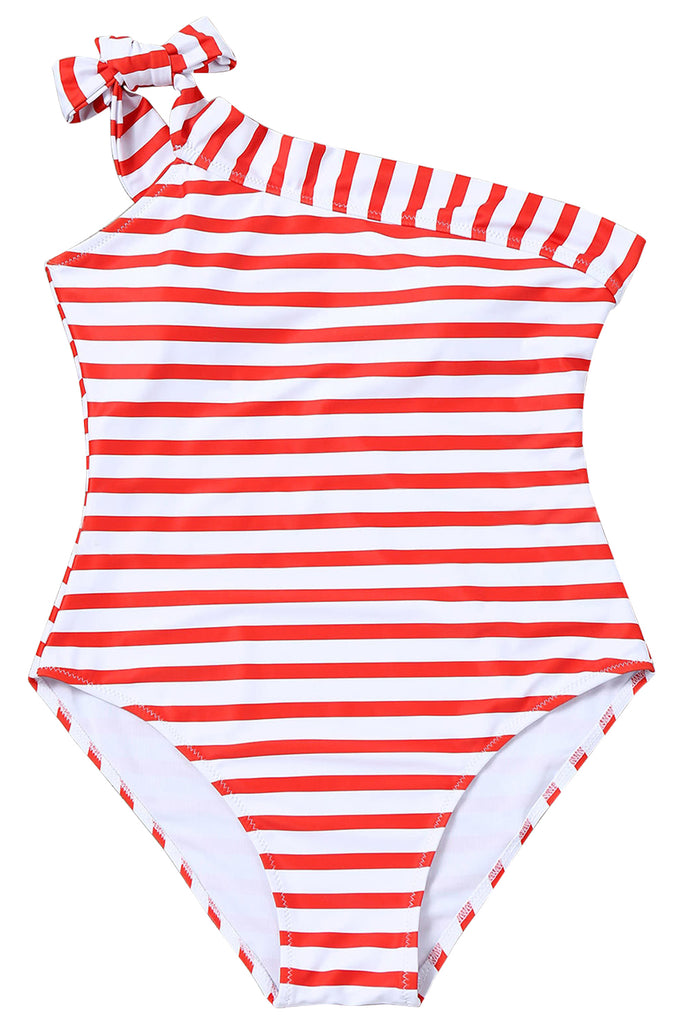 Iyasson Red Stripe Splicing Printing One-shoulder One-piece swimsuit