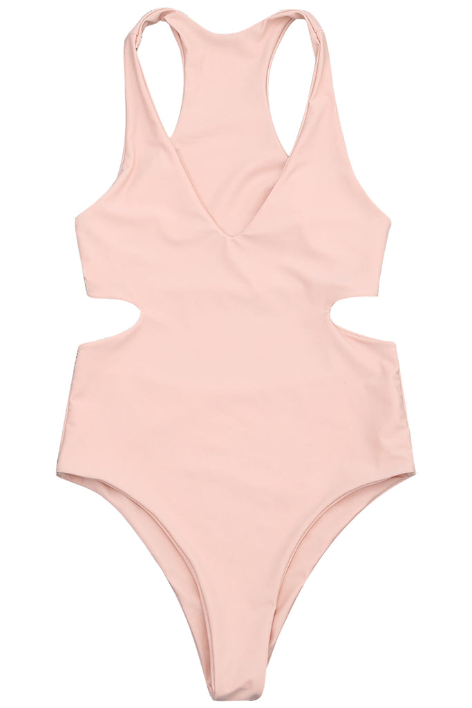 Iyasson Creamy Pink Deep V-nevk Hollow out Design One-piece Swimsuit