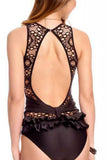 Iyasson Black Lace Splicing With Cute Ruffles One-piece Swimsuit