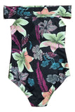 Iyasson Black Floral Printing Off-shoulder Design One-piece Swimsuit