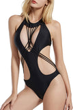 Iyasson Sex Black Hollow Out Design With Strappy Detailing One-piece Swimsuit