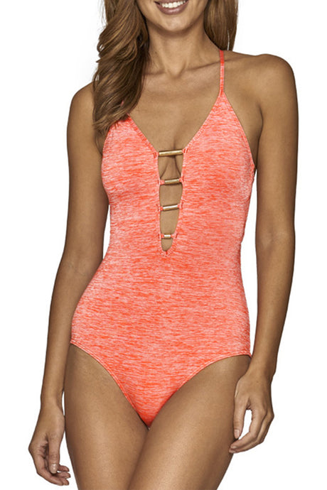 Iyasson Pink Deep V-neckline With Golden Tubes at Center Front One-piece swimsuit