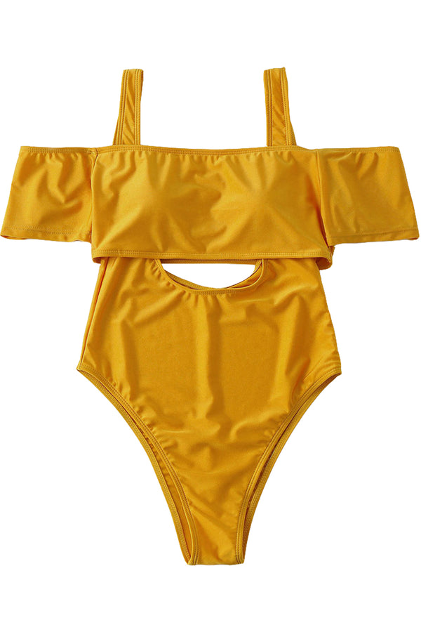 Iyasson Yellow Off-shoulder Hollow Out One-piece Swimsuit