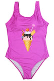 Iyasson Cute Ice-cream Printing With U-backline One-piece Swimsuit