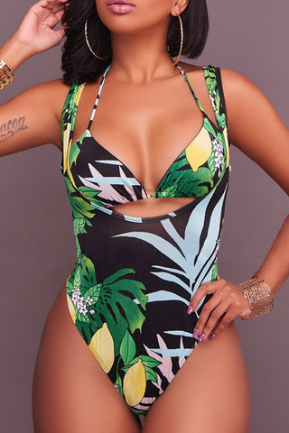 Iyasson Tropical Leaves Printing Halter Two-piece Swimwear