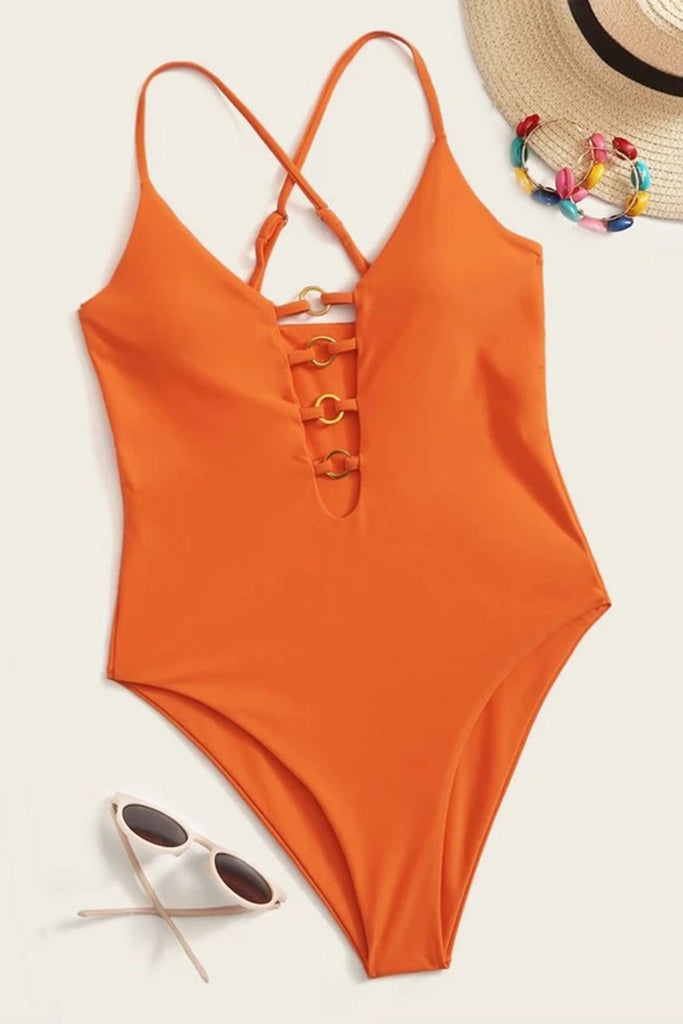 Ring Linked Detail One Piece Swimsuit