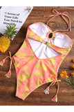Pineapple Halter High Leg One-piece Swimsuit