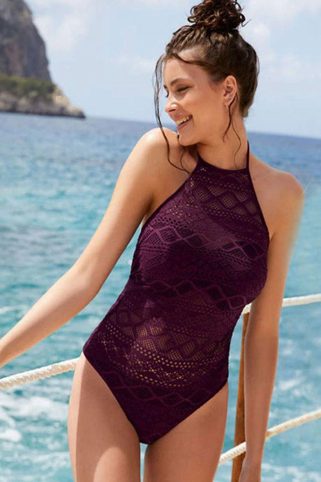 CROCHET CUTOUT HIGH NECK ONE PIECE SWIMSUIT