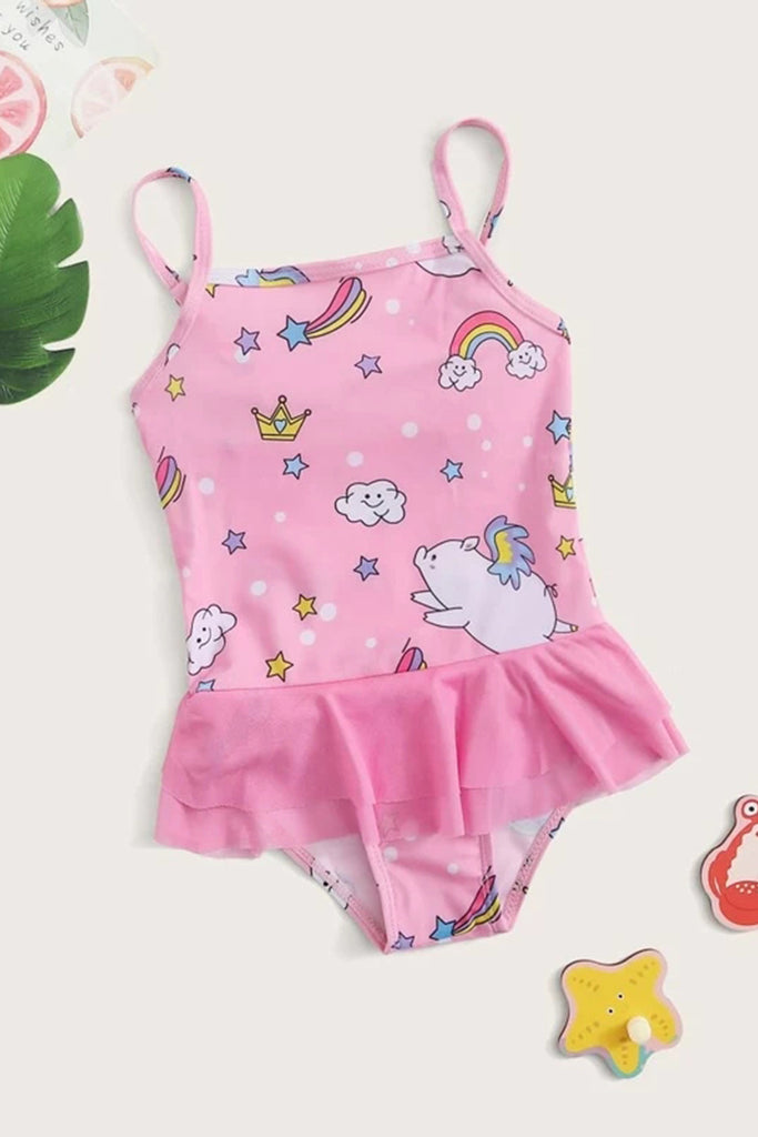 Toddler Girls Cartoon Graphic Ruffle One Piece Swimwear