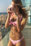 HIGH LEG GINGHAM KNOTTED BRAZILIAN THONG BIKINI SWIMSUIT