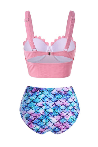 Mermaid Print Textured Moulded Scalloped Tankini Swimwear