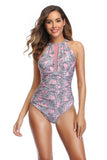 Pink leaf printing high collar one piece swimsuit