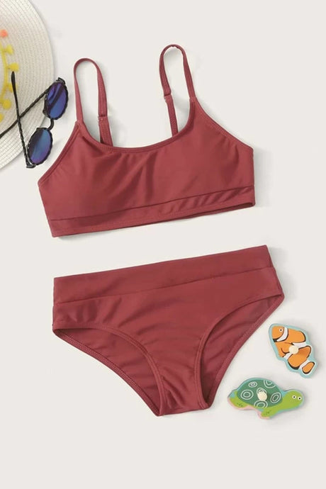 Girls Adjustable Strap Bikini Set