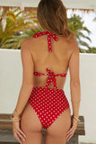 HIGH WAIST POLKA DOT HALTER BIKINI SWIMSUIT