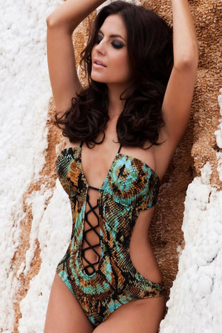 SNAKE LACE UP FRONT HALTER MONOKINI ONE PIECE SWIMSUIT