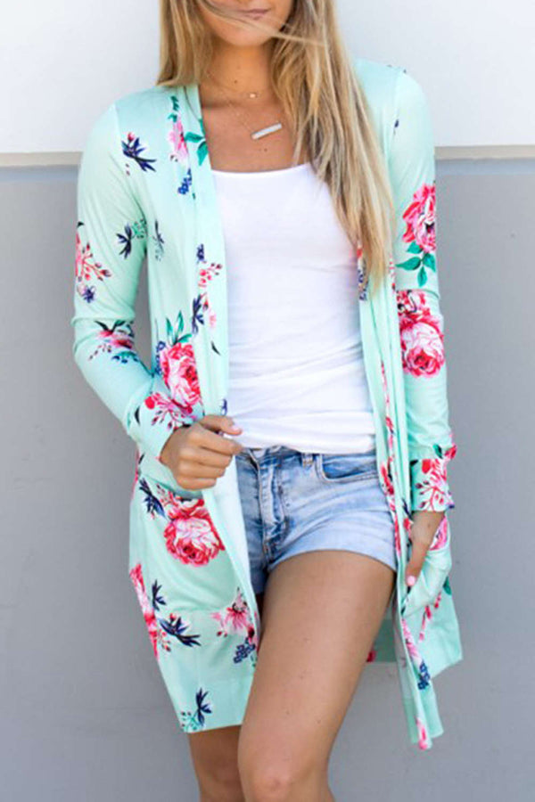 Iyasson Floral Printed Long Sleeve Cardigan