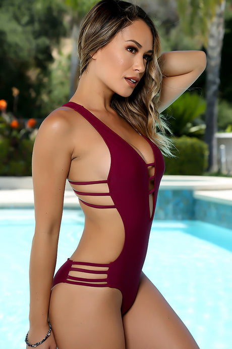 Sexy Wine Strappy Plunging One Piece Monokini Swimsuit