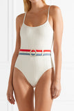 SPORT RIBBED HIGH LEG ONE PIECE SWIMSUIT WITH STRIPED BELT