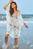 Embroidered Sheer Mesh Kaftan Dress