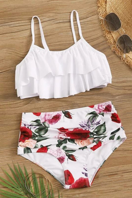 Girls Floral Tiered Layer Bikini Set