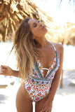 ETHNIC CRISSCROSS STRAPPY HIGH LEG DEEP V ONE PIECE SWIMSUIT