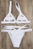 SEXY SPLICING MESH TRIANGLE THONG BIKINI SWIMSUIT