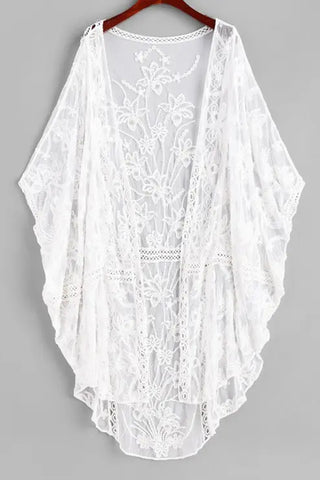 Embroidered Sheer Mesh Batwing Beach Cover-up