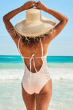 CUTWORK TIE BACK V NECK LACE ONE PIECE SWIMSUIT