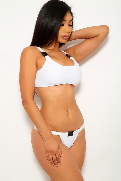 White Buckle Accent Two Piece Swimsuit